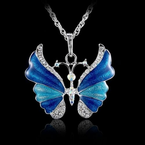 Charm Butterfly Crystal Rhinestone Pendant Necklace Sweater Chain Jewelry Gifts