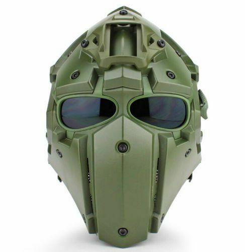 Full Face Hunting Predective Mask Tactical Airsoft Helmet w  4 Pairs Goggles GN