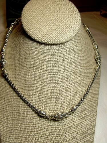 Baroque Silvertone Braided Chian Necklace Magnetic