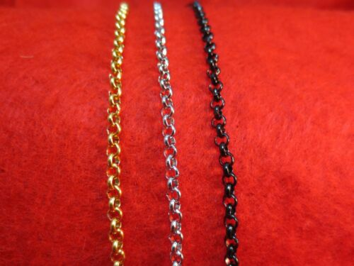 """4mm 16/""""-84/"""" STAINLESS STEEL GOLD//SILVER//BLACK CROSS LINK ROLO ROPE NECKLACE"""