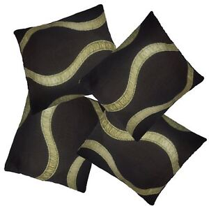 4-Pack-Chocolate-amp-Lime-Wave-Pattern-Woven-Tapestry-Fabric-Cushion-Cover