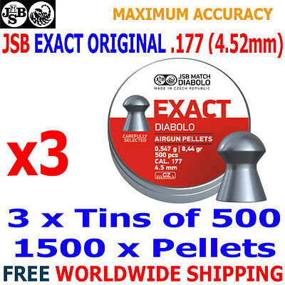 x500pcs JSB EXACT ORIGINAL .177 4.52mm Airgun Pellets 3 tins