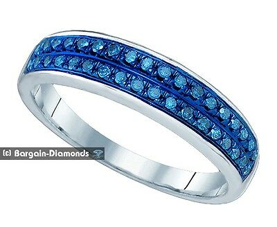blue diamond 10k white gold .21 carat wedding anniversary band Red Carpet ring