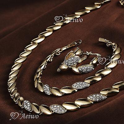 18K GF YELLOW GOLD CLEAR CRYSTAL BRACELET NECKLACE HOOP EARRINGS SET