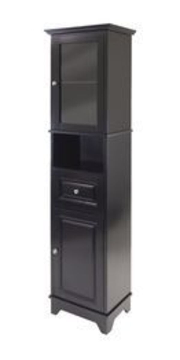 Winsome Alps Tall Cabinet With Glass Door And Drawer Ebay