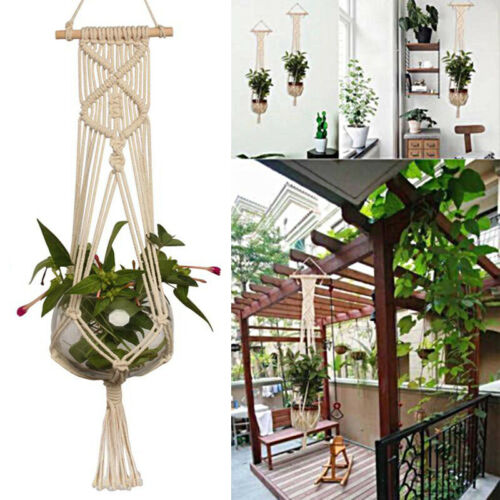 Basket Braided Rope Macrame Pot Craft Plant Hanging Hanger Jute Holder Planter