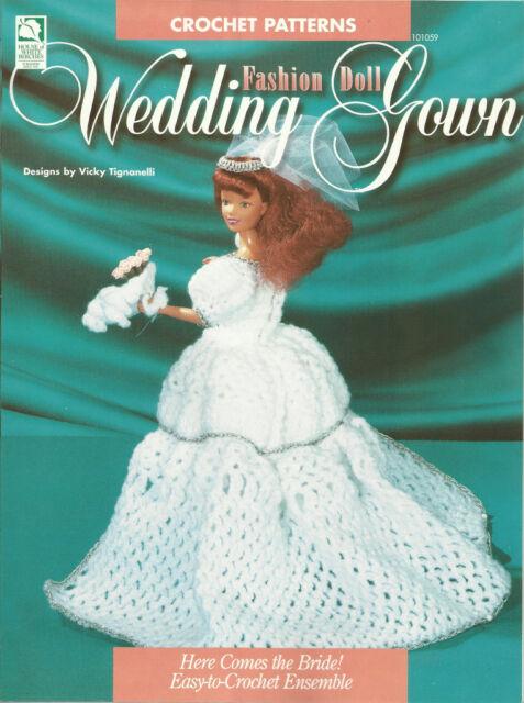 Fd Wedding Gown Barbie Doll Crochet Bride Veil Bouquet Ensemble