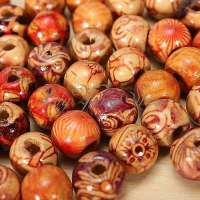100/200pcs Mixed Wood Round Beads for Jewelry Making Loose Spacer Charms 10mm