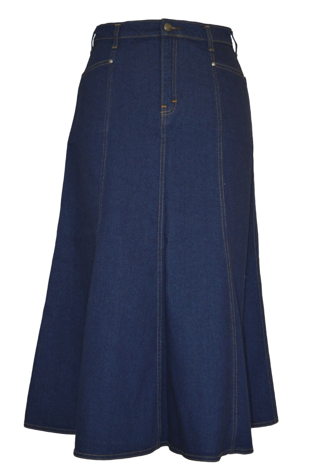 Ladies Plus Size Long Flared Indigo Stretch Denim Maxi Skirt Sizes 14 to 26