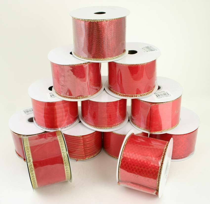 12ct Swirls Of Red Wired Christmas Craft Ribbon Spools 2 5 X 120 Yards Total For Sale Online Ebay