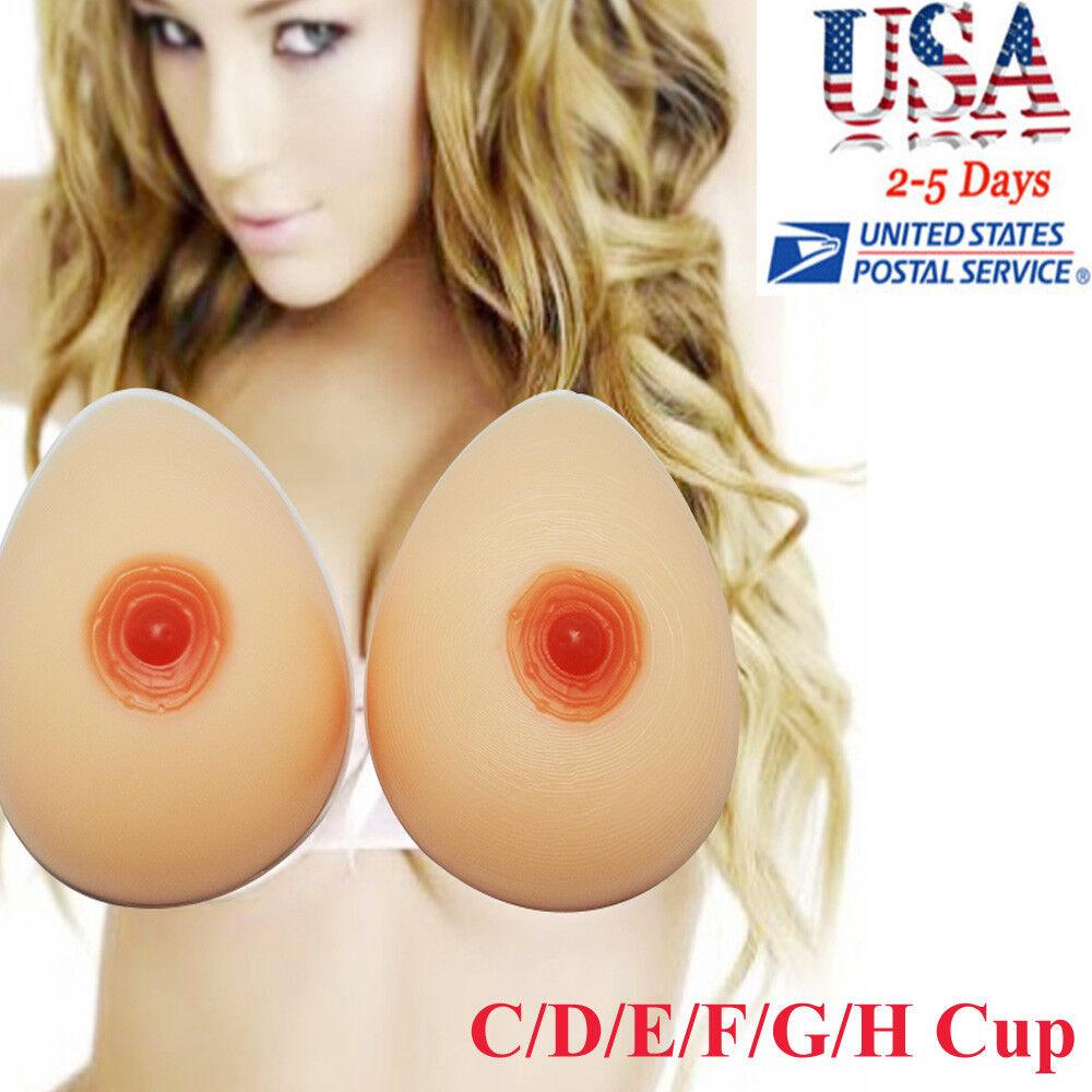 1 Pair Silicone False Breast Boobs Forms Transvestites Enhancer C D E F G H Cup