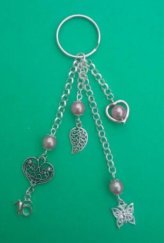 16th Birthday Tibetan Handbag Charm with Pink Beads Gift. Heart /& Butterfly