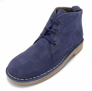 Roamers /'Ladies/' 2 Eyelet Leather Fashion Ankle Desert Boots Denim Blue Real Sue