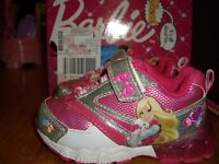Toddler Girls Size 7 Barbie Light Up Shoes Sneakers Pink Silver Glitter