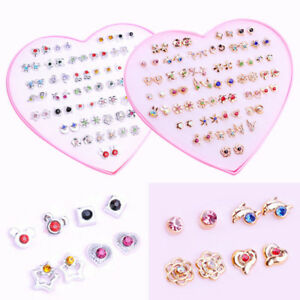 36-Pairs-Women-Girls-Crystal-Diamante-Flower-Stud-Earrings-Fashion-Jewelry-Set