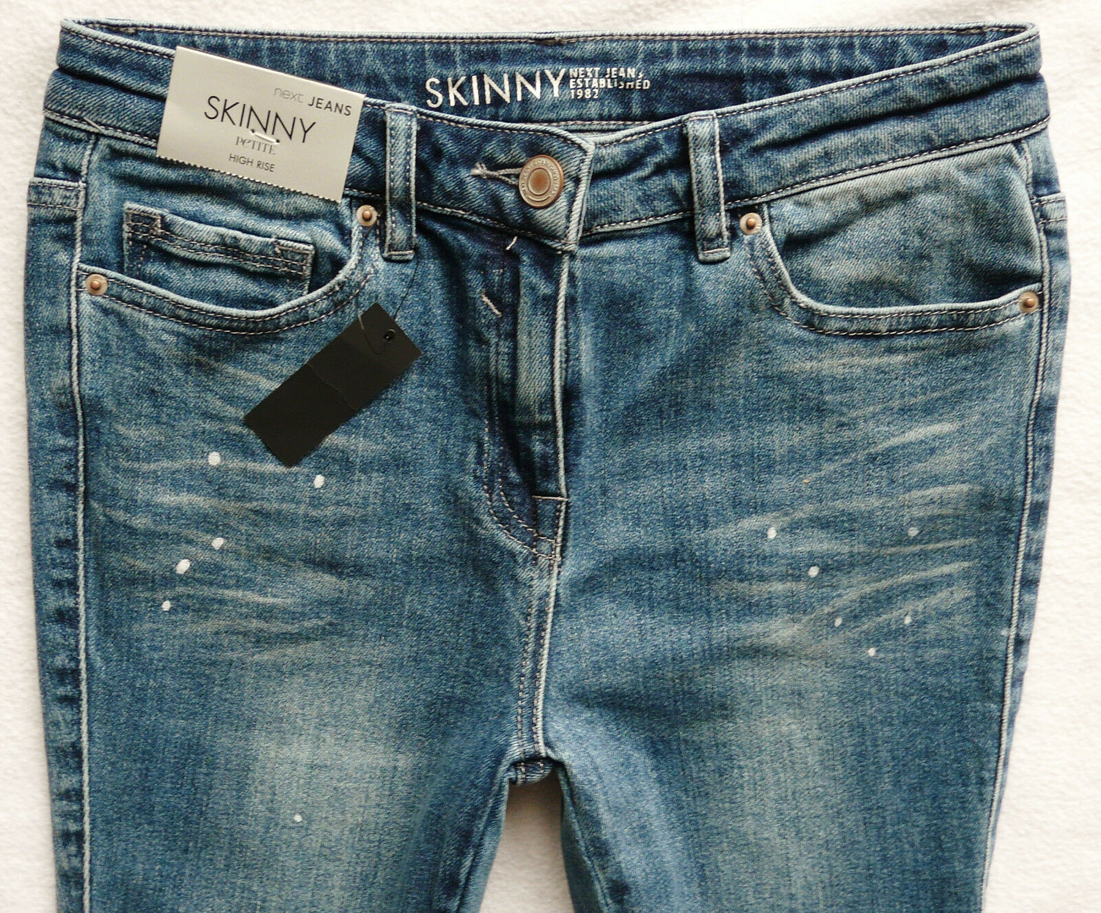 BNWT NEXT super skinny high rise knee rips paint drops raw hems jeans P R L XL