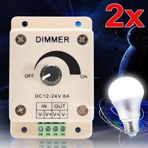 2x-PWM-Dimmer-Controller-LED-Light-Lamp-Strip-Adjustable-Brightness-12-24V-8A-GA