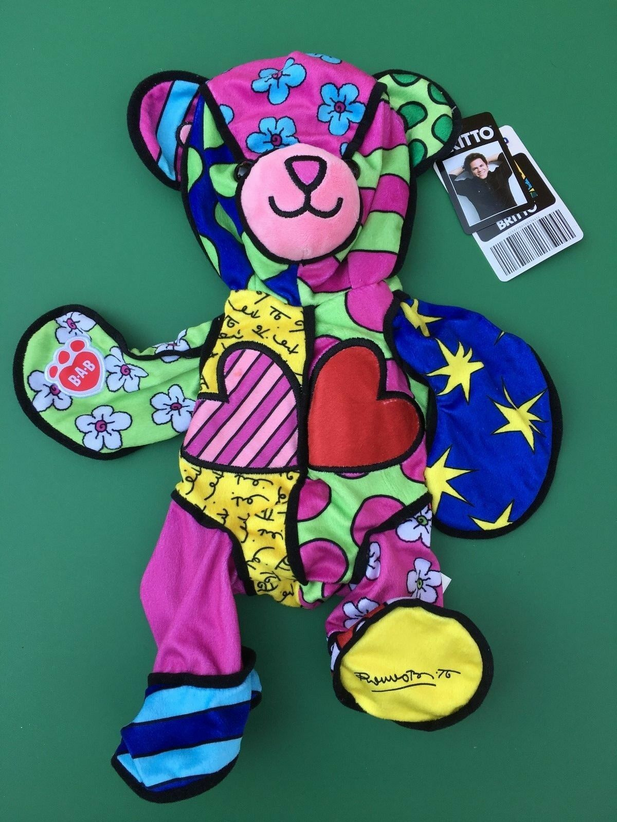 Build a Bear Retirosso Limited Edition Britto Bear Plush Toy - Unstuffed - Nuovo