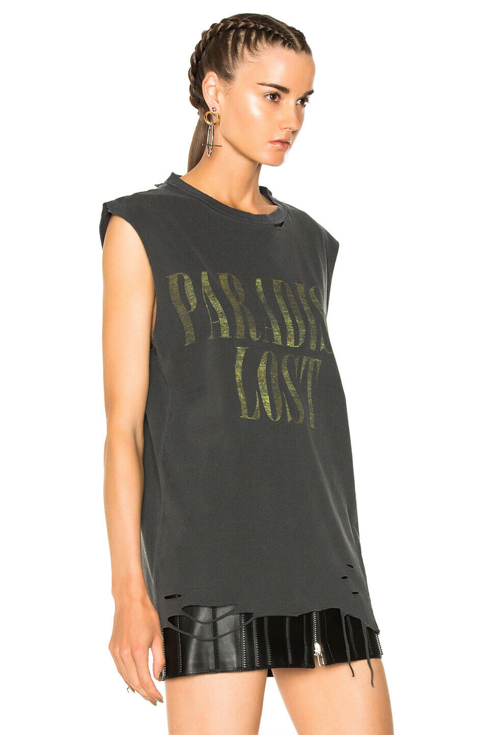 ALCHEMIST faded schwarz ripped cotton tank Paradise Lost shirt boxy fit tee XS NEW