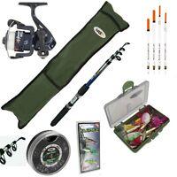 Complete Fishing Set Rod And Reel Starter Set Travel Bag Floats Shot Tackle Box