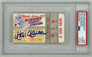 1957 BRAVES Hank Aaron signed ticket stub WORLD SERIES PSA/DNA AUTO 10 Perfect