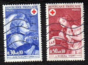 TIMBRES-1971-CROIX-ROUGE-OISEAU-MORT-ET-JEUNE-FILLE-AU-CHIEN-OBLITERES