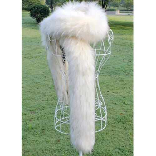 Lady Women Faux Fur long Collar Scarf Fluffy Winter Shawl Wrap Stole warm Scarfs