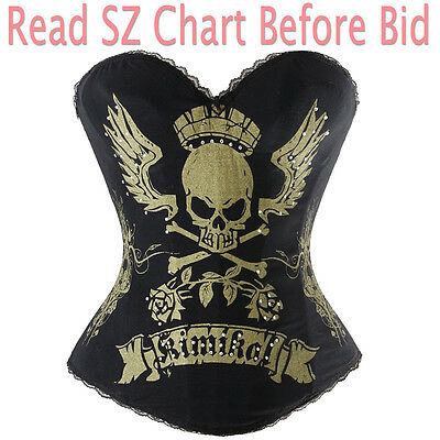 Gold Skull King Boned Lace Up Overbust Steampunk Fancy Rouge Corset Bustier H3