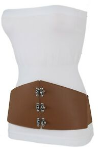 6fdc7560f7d Image is loading Women-Brown-Fabric-Clubbing-Fashion-Stretch-Corset-Wide-