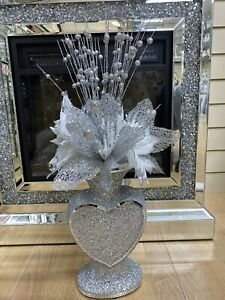 CRUSHED DIAMOND HEART SILVER MOSAIC VASE WITH FLOWERS, SPARKLY GIFT