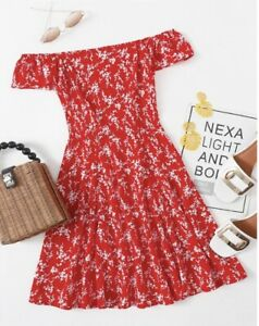 SHEIN-Off-the-Shoulder-Floral-Print-Red-Swing-Dress