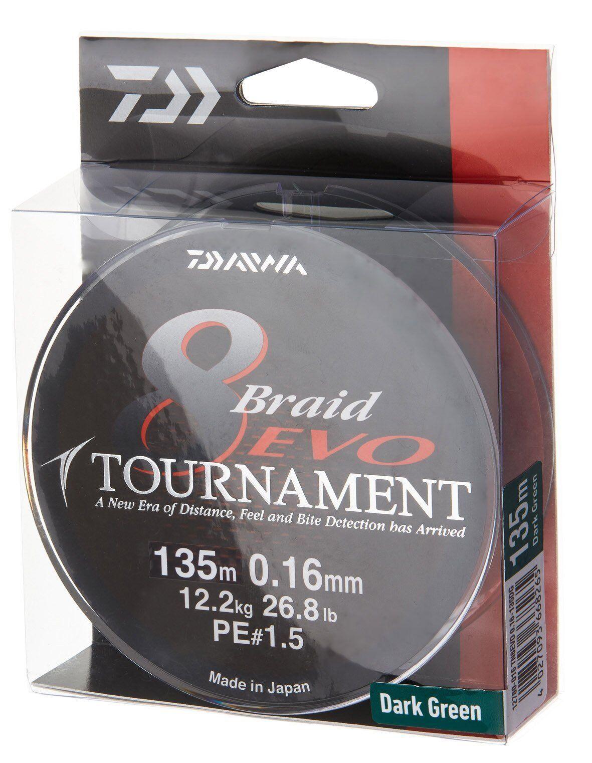 Daiwa Tournament 8 Braid Evo, dunkelgreen, 135m - rund geflochtene Angelschnur