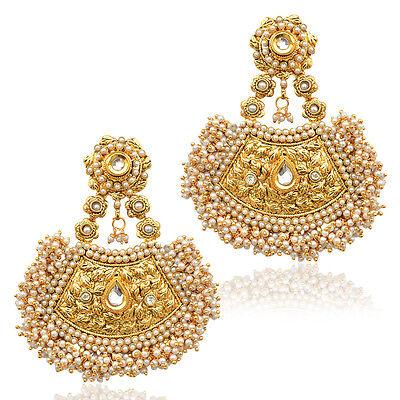 Ethnic golden design with kundan & chandni pearls ADIVA India earring v390