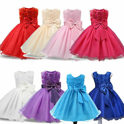 Baby Girls Bridesmaid Dress Wedding Party Baby Flower Bow Princess Dresses