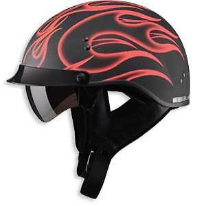Details About Red Flame Motorcycle Half Helmet Retractable Visor Dot Sm Md Lg Xl Xxl Large