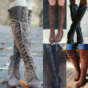 Womens-Over-the-Knee-Lace-Up-Bandage-Thigh-High-Combat-Low-Heel-Boots-Flat-Shoes