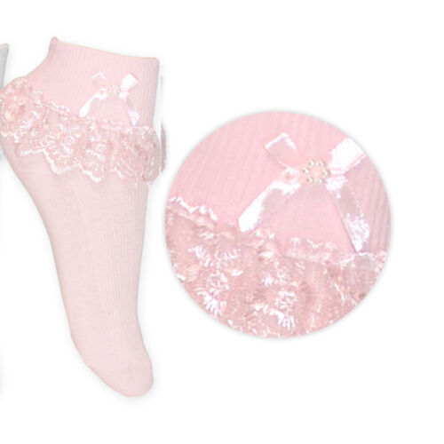 Girls frilly socks lace Baby christening cross kids Newborn 0-mths-11 years