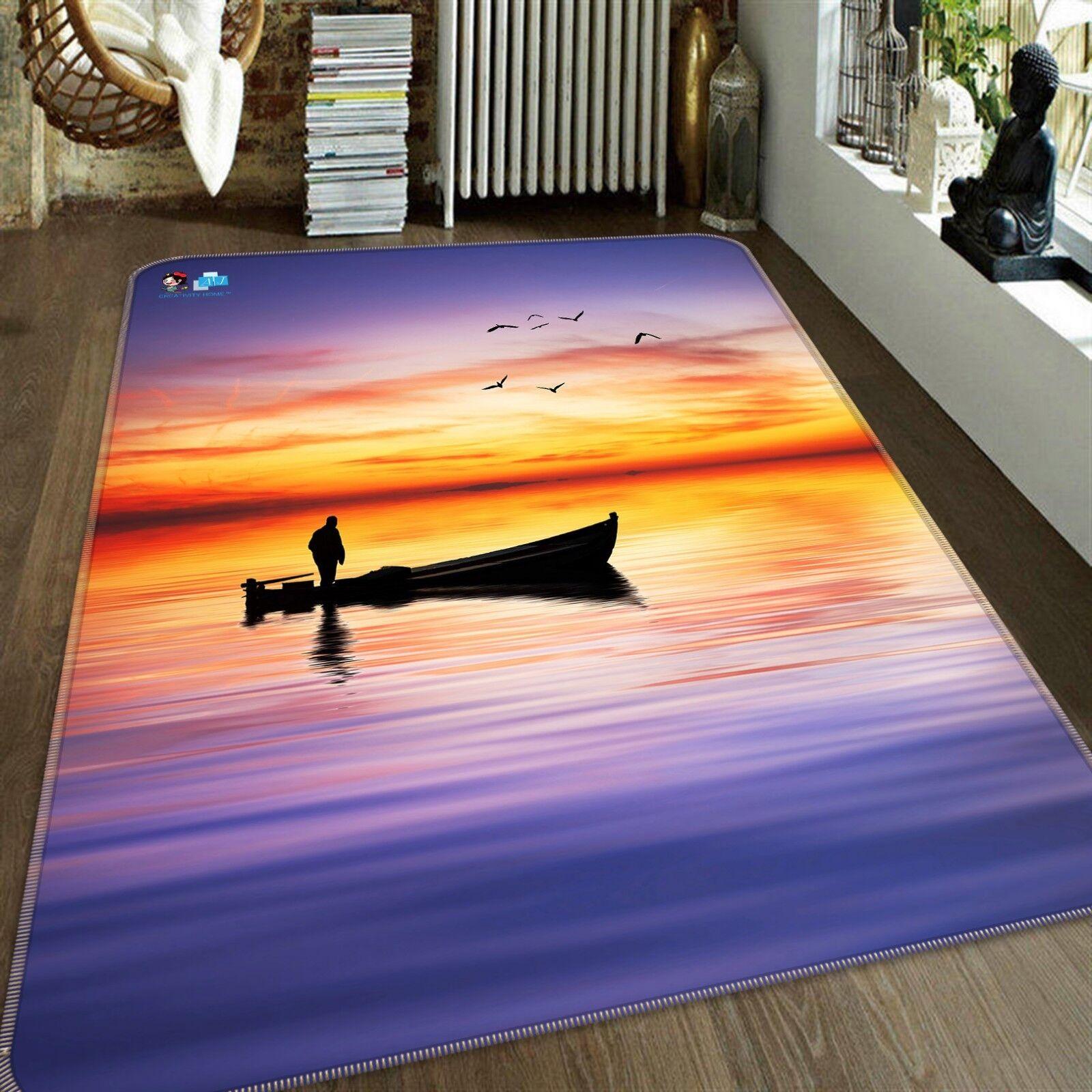 3D Sunset Ship 002 Non Slip Rug Mat Room Mat Quality Elegant Carpet US Cobb