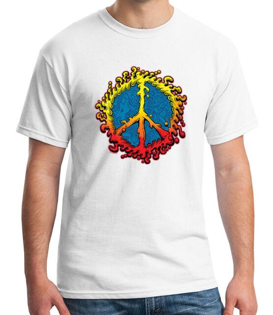 Peace Amoeba Symbol Adult/'s T-shirt Hippie Retro Print Tee for Men 2028C