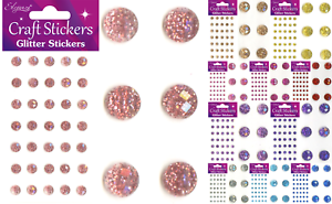 Self-Adhesive-Glitter-Stickers-Faceted-Gems-Scrapbooking-Craft-Embellishments
