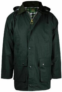 Mens Countryman Cotton Wax Jacket Hooded Padded Coat Hunting Riding fishing