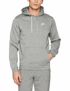 4be78371834f Details about Nike Mens Club Fleece Pullover Hoodie Dark Grey Heather White  804346-063