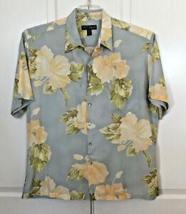 Tori-Richard-Men-039-s-Hawaiian-Shirt-Blue-Yellow-Floral-Short-Sleeve-Size-XL-USA