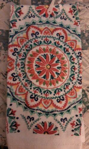 NEW COTTON PRINTED KITCHEN TERRY TOWEL Mandala Orange Blue and White