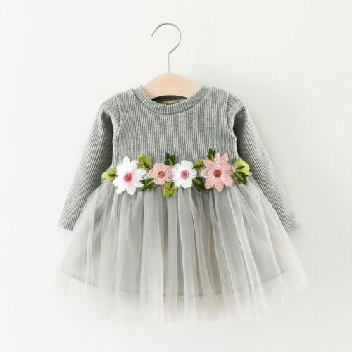 Toddler Baby Girl Princess Long-arms Flowers Gauze Tutu Ballet Long Sleeve Dress