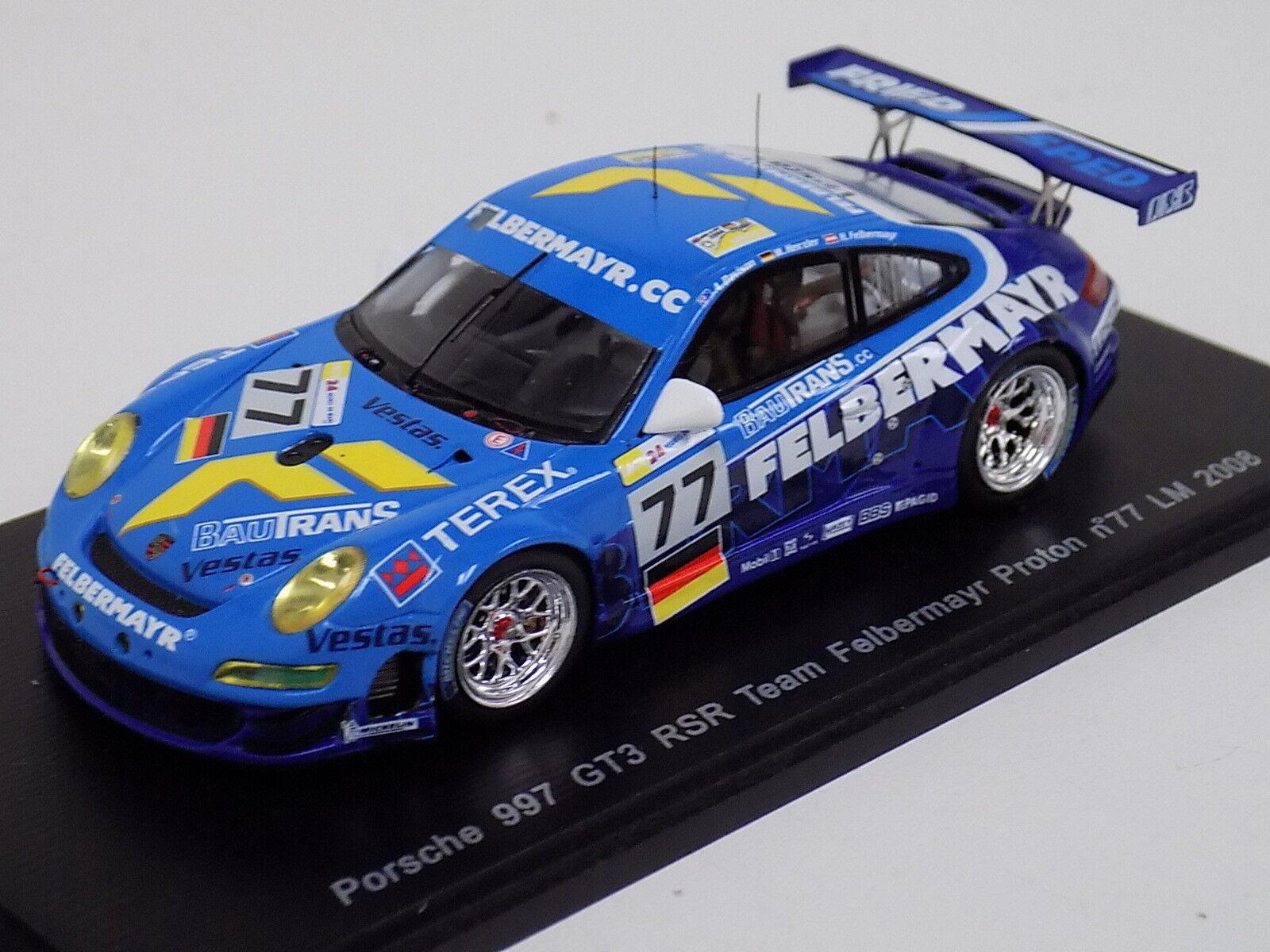 1 43 SPARK PORSCHE 911  997  GT3 RSR Voiture  77 de 2008 24 H LeMans S1909