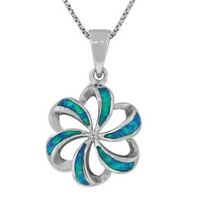 Sterling-Silver-Blue-Turquoise-Fire-Opal-Flower-Womens-Pendant-Necklace-Chain