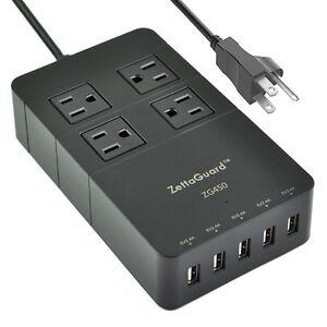 zettaguard mini 4 outlet travel power strip surge protector usb charger black ebay. Black Bedroom Furniture Sets. Home Design Ideas