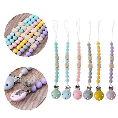 Toddler Baby Kids Teething Pacifier Beads Clip Chain Holder Soother Nipple Strap