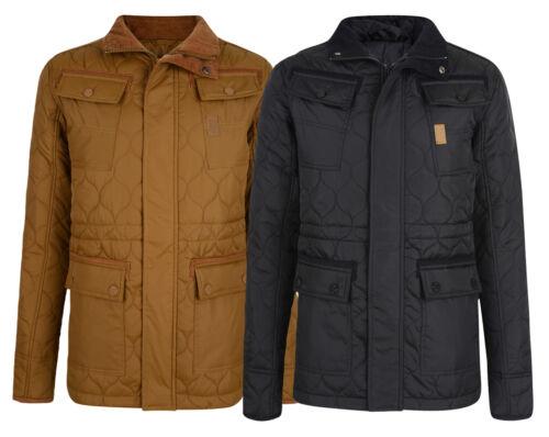 Crosshatch Men/'s Laxos Slim Skinny Fit Quilted Jacket Black /& Mustard Beige DD2